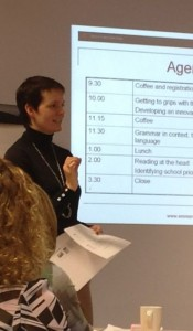 Emma Rogers presenting a course